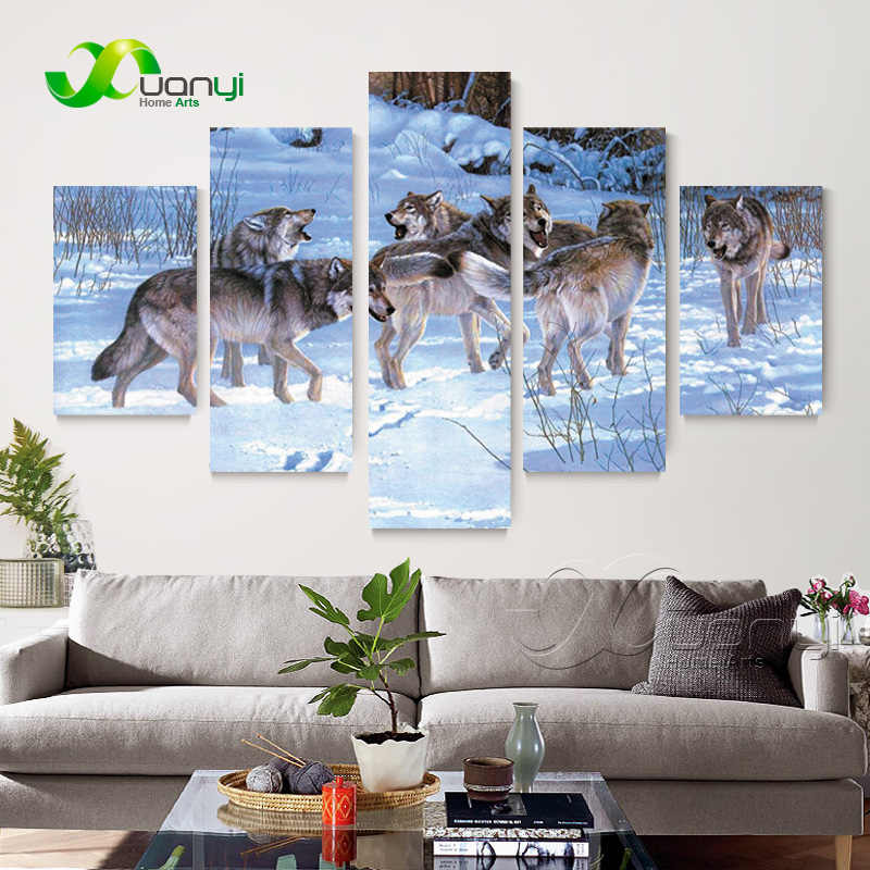 5 Panel Wolf Modern Canvas Painting Wolfpack Home Decor Modular Wall Picture For Living Room Canvas Art Prints Unframed PR1373