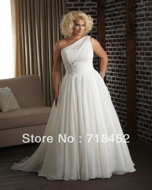 One Shoulder Wedding Dress Plus Size Chiffon Appliques A Line Free ...