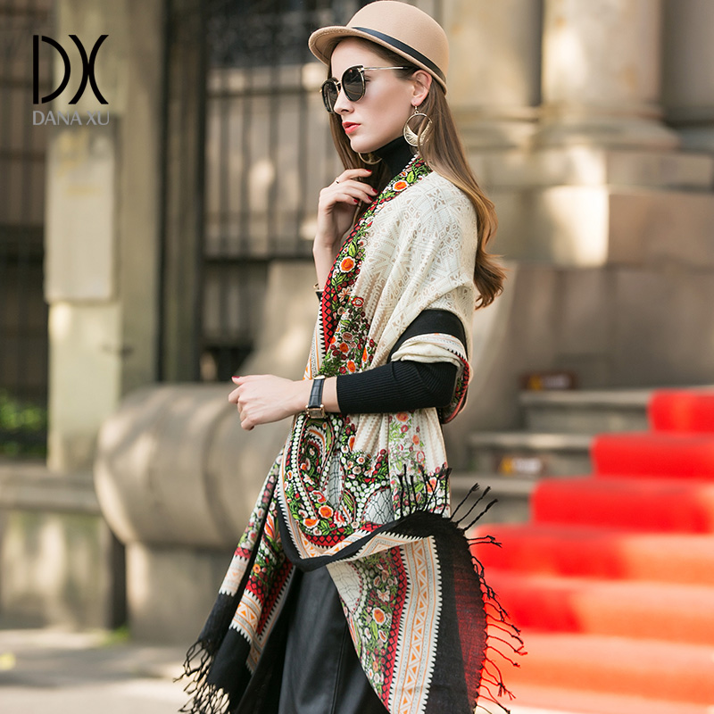 DANAXU New Winter Scarf Women Plaid Blanket Cashmere Pashmina Shawl Fashion Scarves and Shawls Luxury Brand