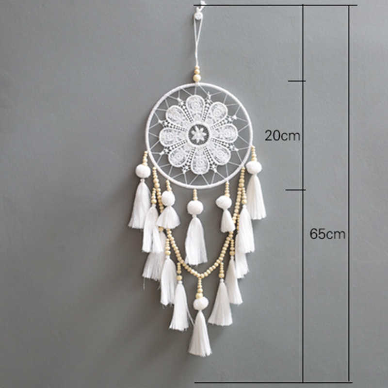 2018 New Creative White Dream Catcher Wind Chime Handmade Pendant Ornaments Bedroom Living Room Wall Wedding Decoration-60244