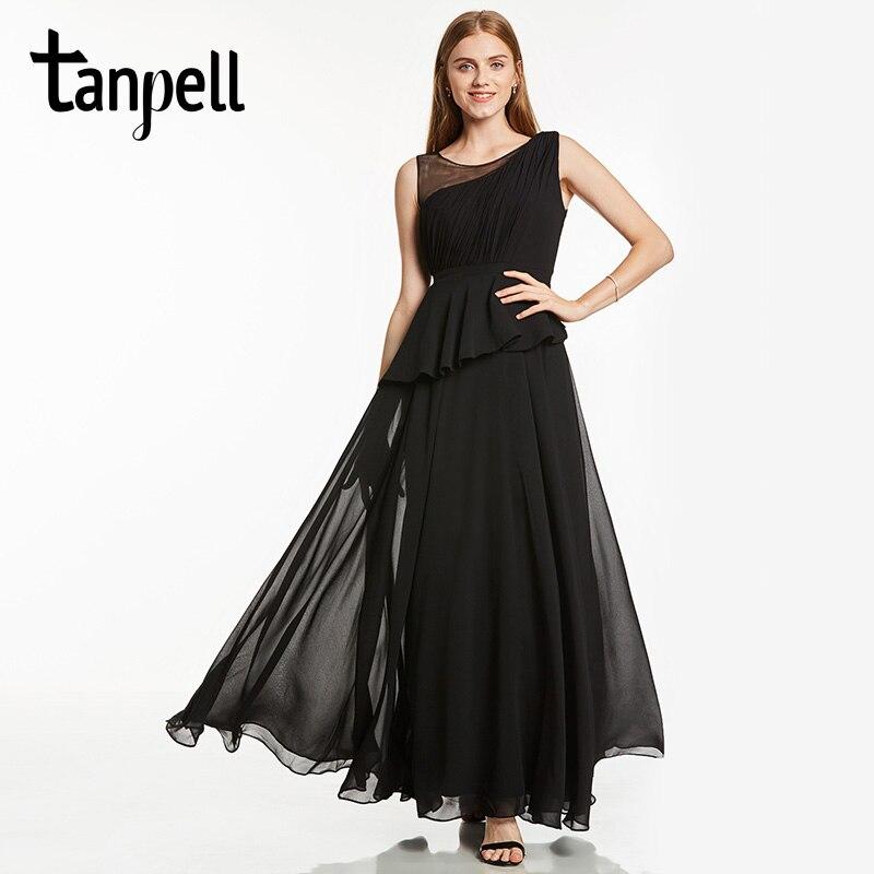 Tanpell Scoop Long Evening Dress Black Sleeveless A Line Floor Length Dresses Women Red Chiffon Draped Formal Prom Evening Dress