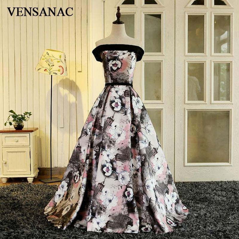 VENSANAC 2017 नई एक लाइन फूल Sashes Strapless - विशेष अवसरों के लिए ड्रेस