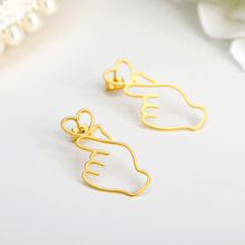1 Pairs Personality Metal Love Earrings Hollowing Out Heart Gesture Earrings HEART SHAPED STUD EARRINGS Wholesale ring shaped stud earrings