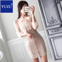 High Quality Women Office Apricot Lace Dress Summer Single breasted Bow Lacing Collar Crochet Casual Puff Sleeve Dress Clothing