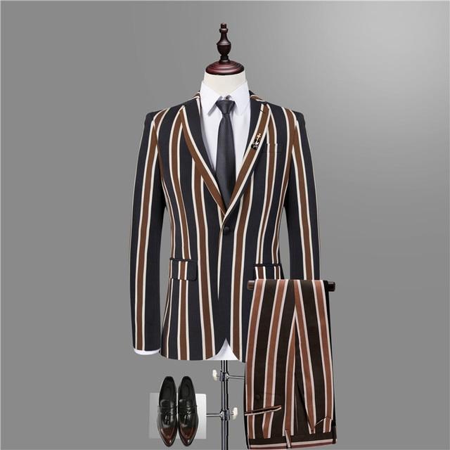 1 個/スーツ、ストライプブレザー男性
