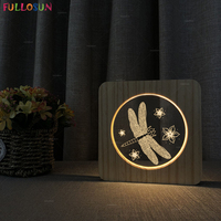 Warm Color LED Wooden Lampara Light Nordic Style Indoor Desk Lamp Dragonfly Model 3D Night Lamp for Bedroom Decor