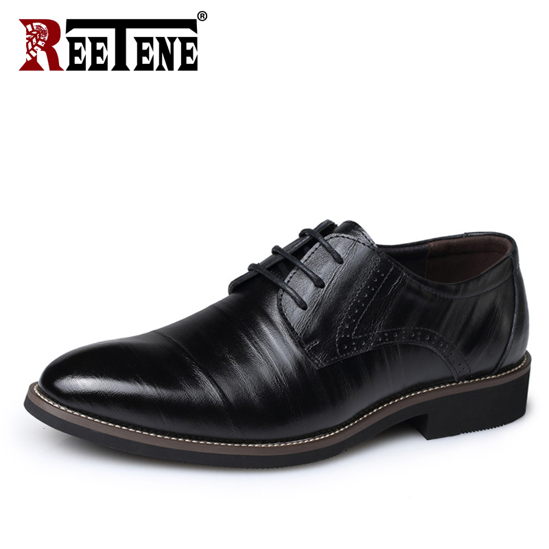 все цены на REETENE High Quality Oxford Men Shoes Genuine Leather Comfortable Men Dress Shoes Brand Lace-Up Business Wedding Shoes Men'S онлайн