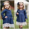 2017 New Baby Girl Denim Lace Dress For Spring Autumn Kids Children Jeans Princess Dresses Wholesale 5pcs/lot