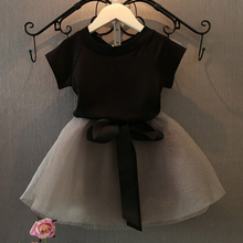 купить Skirt Suit Newborn Infant Baby Girls Clothes Set Short Sleeve Round Neck T-shirt Short Skirt Summer Cute Party Wedding Dress Kid дешево