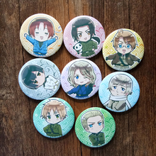 8pcs/Set 58MM Anime Axis Powers Hetalia World Twinkle Panda China APH Moive Broochpin RussiaItaly,US.UK Badge Brooch Anime Badge