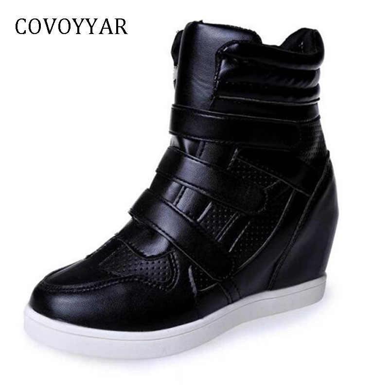 faa60a8bb COVOYYAR/женские кроссовки на скрытой танкетке, 2019 повседневная обувь на  высокой платформе, ботильоны