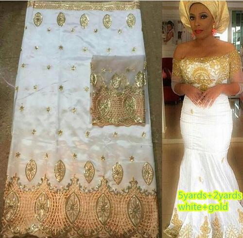 Blanc et or 5yards africain george dentelle tissu + 2yards français net dentelle tissu définit de haute qualité pour faire la robe de mode