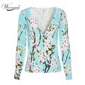 New 2017 fashion spring women sweater flower pattern V-neck short knitted cardigan slim casual jacket outcaot WS-015