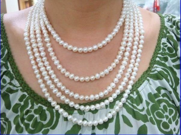 100 inch long 7-8mm white freshwater pearl necklace fine jewelry For Women Wedding free shipping100 inch long 7-8mm white freshwater pearl necklace fine jewelry For Women Wedding free shipping