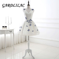Gardlilac V neck Short White Homecoming Dresses Bridesmaid Dress Butterfly Appliques Prom Party Dress