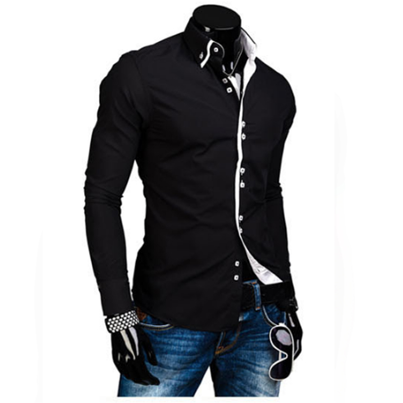 Men Shirt Luxury Brand 2018 Male Long Sleeve Shirts Casual Solid Multi-Button Hit Color Slim Fit Dress Shirts Mens Hawaiian XXL