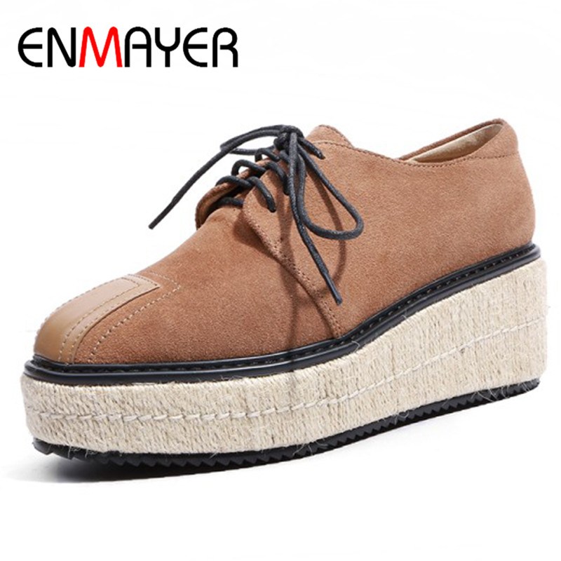ENMAYER Platform Shoes Woman Lace-up Cross-ties High Heels Round Toe Wedges Pumps Casual Shoes Spring&Autumn Plus Size 34-43 xiaying smile woman pumps shoes women spring autumn wedges heels british style classics round toe lace up thick sole women shoes