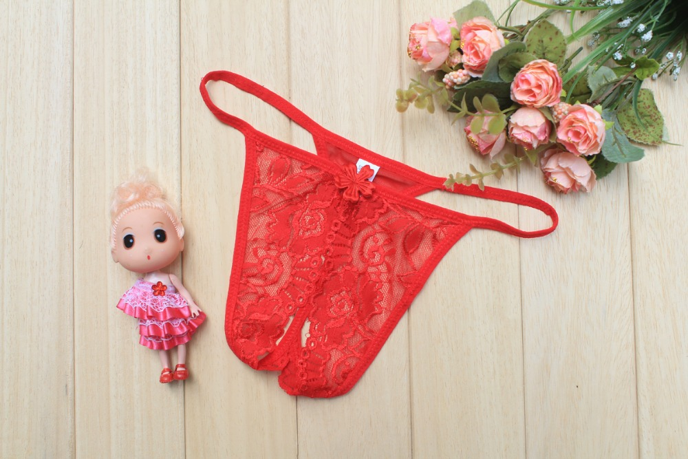 Free Shipping Sexy Lingerie Transparent Lace Sexy Ladies Panties Open File Thong T -3452