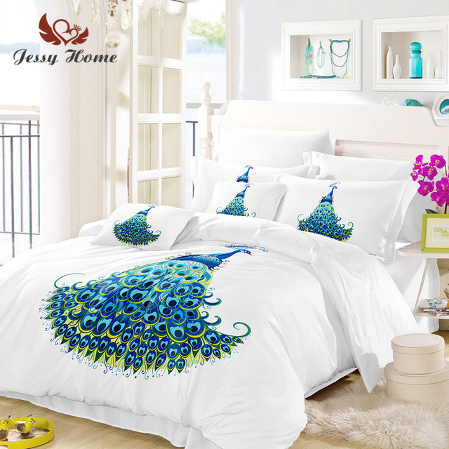 Beau Peacock Bedding Set Queen Size Blue Bird Duvet Cover Animal Bed Set  Bedclothes 3pcs US/