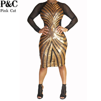 2016 Summer Women Plus Size Gold Geometric Pattern Sequin Dress Sexy Long Sleeve Mesh Midi Dress
