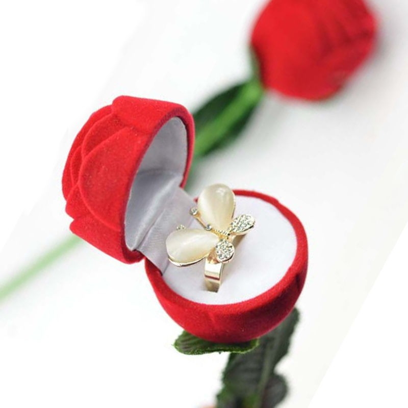red romantic gift ring case for girlfriend red rose shape