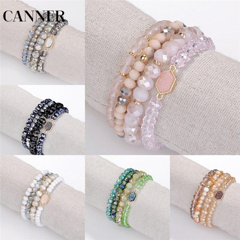 CANNER 4 шт./компл. 2019 богемные Многослойные браслеты с бусинами из кристаллов и