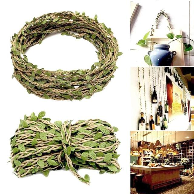 10M Green Leaf Silk Garland Iron Wire Artificial Flower Vine Ivy Rattan For Wedding Background Decoration Diy Wreath Flowers