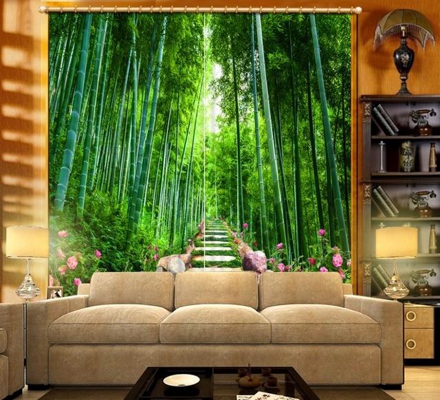 Belle fenêtre rideaux nature fenêtre rideaux Bambou fleurs route ...