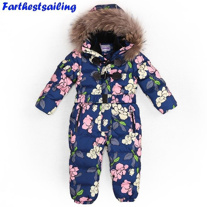 Children Winter Jumpsuit Duck Down Boys Girls Baby Romper Nature Fur Hooded Boys Overalls Toddler Kids Baby Outerwear Snowsuit
