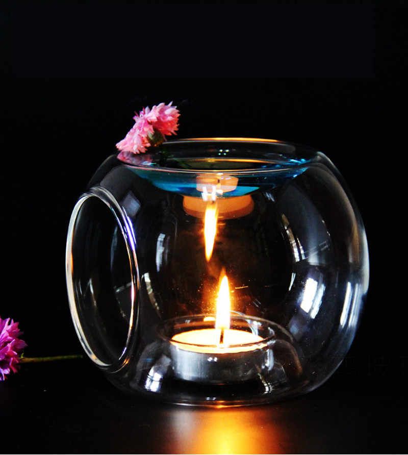 Glass Candlestick Fragrance Aroma Oil Burner Tealight Holder Candle Wax Tart Warmer Cheap Elegant Brief Creative Candle Holders