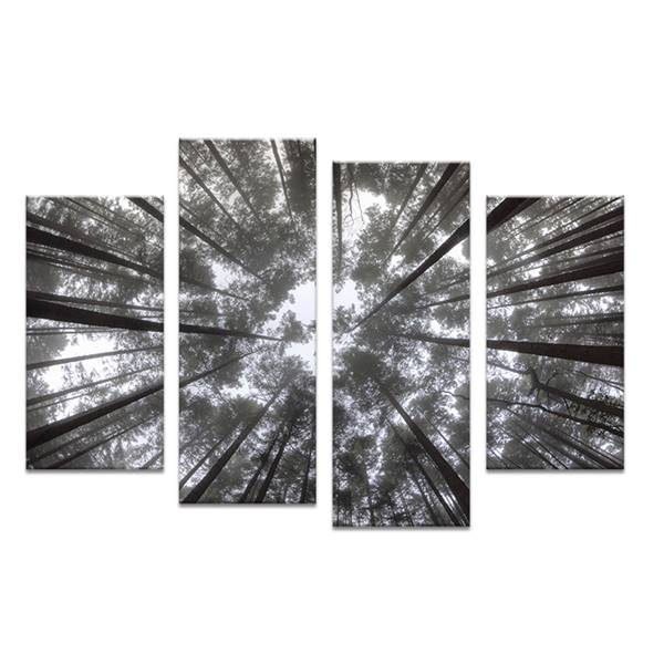 4pcs white and black tree art in sky wall painting print on canvas