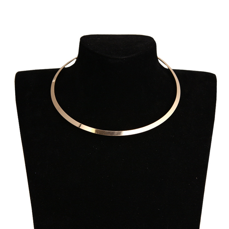 Metal Collar Necklaces Punk Choker Smooth Geometric Round Gold-Silver-Statement Women