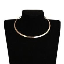 Гладкие металлические ожерелья-воротники для женщин, круглые геометрические золотые серебряные массивные ПАНК Ожерелья-чокер, колье для женщин
