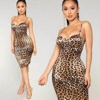 New Fashion Hot Selling Spaghetti Strap Leopard Dress Print Midi Women Dress Party Club Vestido Casual Outfit Clothing Wholesale