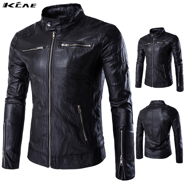 New Fashion PU Leather Jacket Men Black Solid Mens Faux Fur Coats Trend Slim Fit Youth Motorcycle Jacket Male Size M-5XL