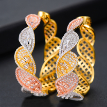 SISCATHY 2019 Trendy Cubic Zirconia Earrings Statement Hoop For Women Wedding DUBAI Jewelry Accessories