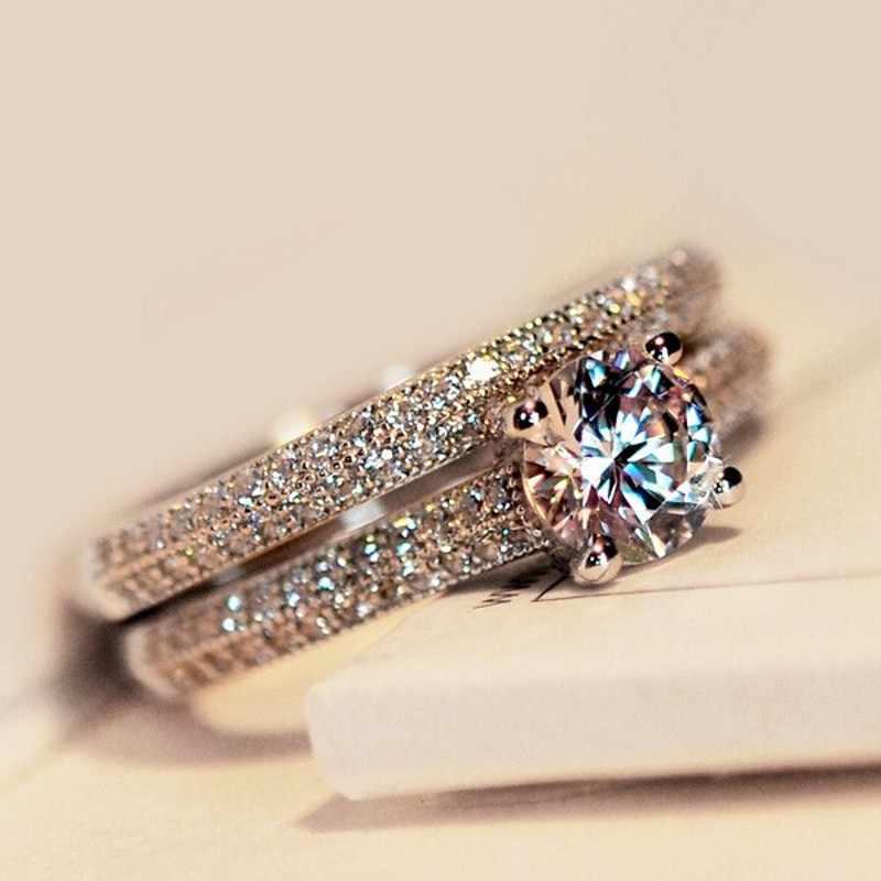 Vecalon 3คนรักสีแหวนชุด5AเพทายCzทองที่เต็มไปด้วย925หมั้นแหวนแต่งงานวงสำหรับผู้หญิงเจ้าสาวเครื่องประดับ