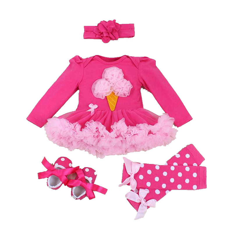 Ice Cream Applique Long Sleeve Newborn Baby Girl Clothes Ropa Bebe Fantasia Infantil Lace Petti Romper Dress Infant Clothing 2016 bebe rompers ropa pink minnie hoodies newborn long romper baby girl clothing roupa infantil jumpsuit recem nascido