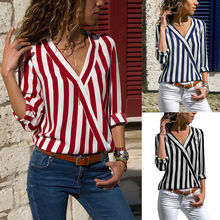 Hirigin Brand Elegant Women Striped Casual Button Up Shirt Top Office Plus Size Harajuku Long Sleeve Blouse Tops Blusas Mujer plus size striped button up shirt