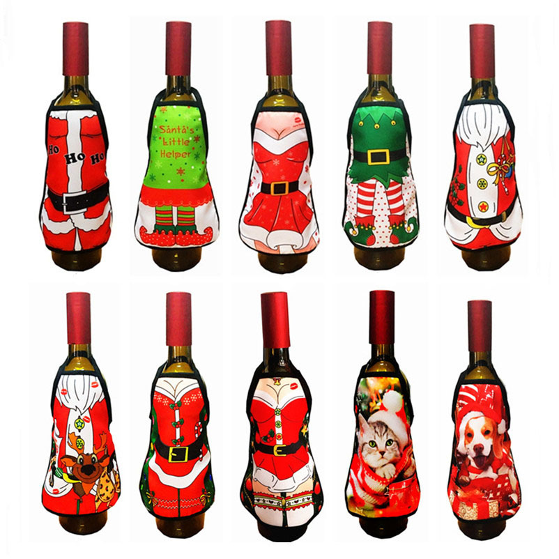 Mini Christmas Apron For Red Wine Bottle Cover Santa Claus Christmas Pets Cat Dog Elk New Year