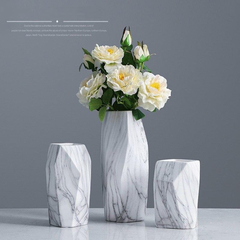 Nordic Marble Ceramic Flower Vase Desk Flower Pot Ornaments Crafts Home Office Decoration Wedding Gifts Household Flower Vases