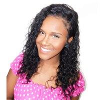 Glueless предварительно сорвал полный шнурок человеческих волос парики для Для женщин Natural Black бразильский свободные вьющиеся парик когда либо