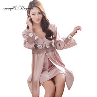 New Arrival Long Faux Silk Nightgowns Two Piece V Neck Hollow Out Cuff M XXL Satin