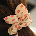 Los mejores Regalos para las niñas! orejas de conejo de Gasa Punto de la Onda Puntos Redondos de cuerda de Pelo anillo de Pelo Del Arco Hairbands Elástico Del Pelo de Las Vendas