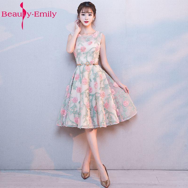 Beauty Emily Cheap Short Pink Lace   Bridesmaid     Dresses   2017 Vestidos de madrinha de casamento Sleeveless Knee-Length Prom   Dresses