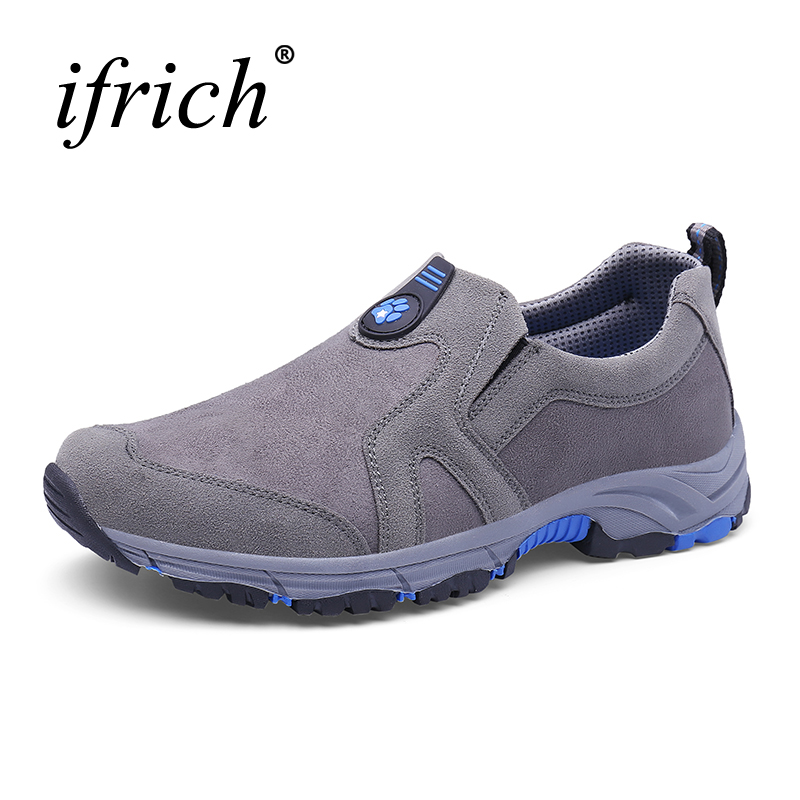 2017 Winter Outdoor Trekking Boots Men Slip On Mountain Climbing Sneakers Leather Warm Hiking Shoes For Men Mountain Trainers famous brand men s winter outdoor hiking trekking boots shoes for men warm leather climbing mountain hunting boots man quality