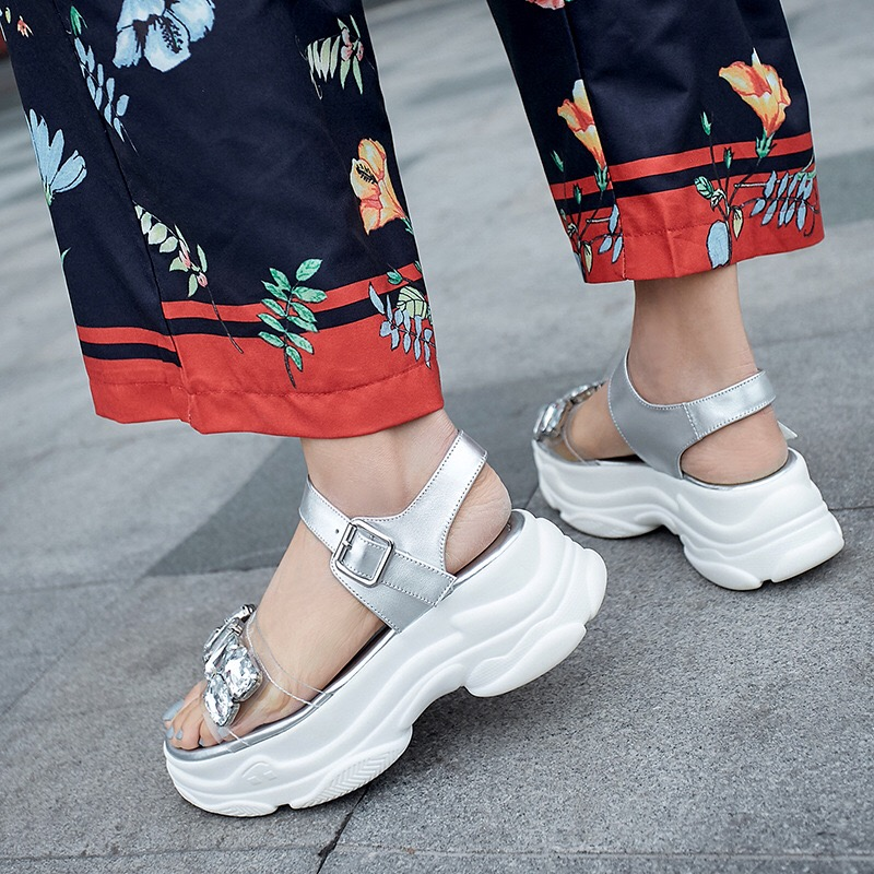 Donna in été haute plate forme sandales 2019 femmes Sport sandales en cuir véritable chaussures à bout ouvert avec strass sangle boucle - 4