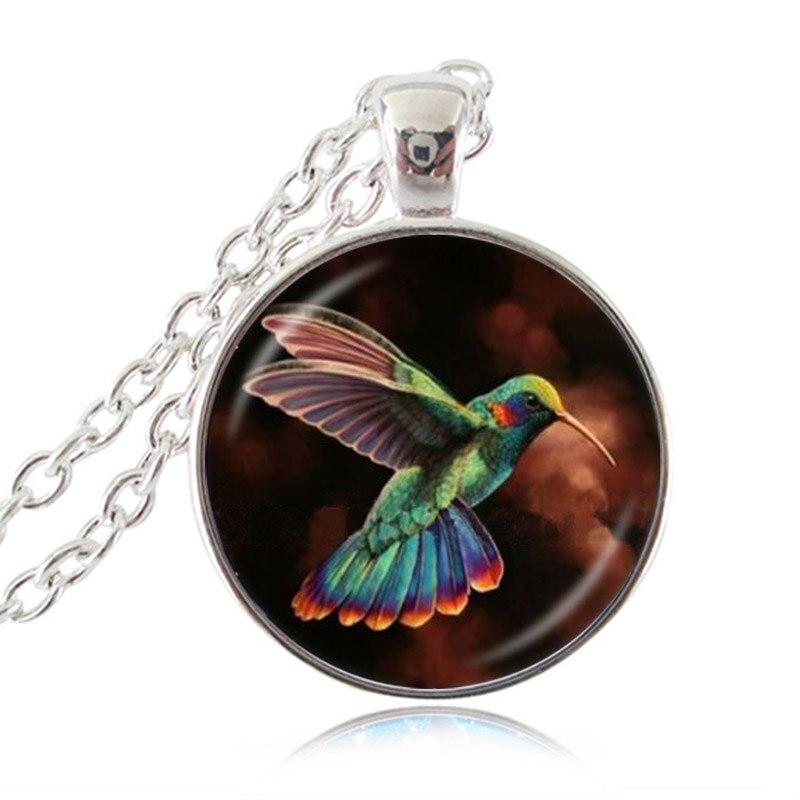 Photo cabochon verre argent Populaire Pendentifs Collier Humming /_ Oiseau