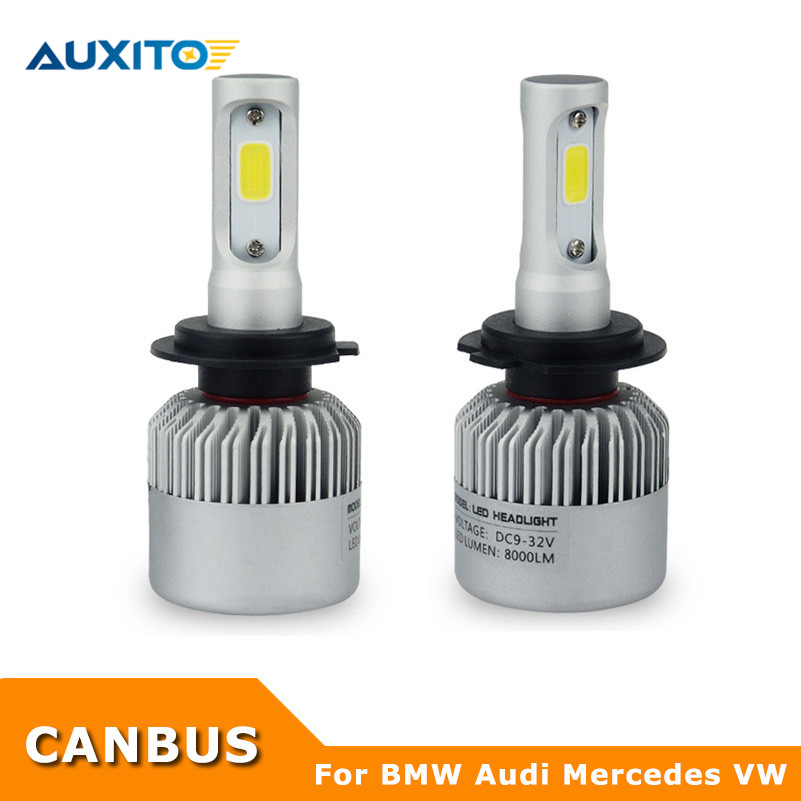 For BMW Audi Mercedes VW H7 Canbus COB LED Headlights Bulb Kits 72W 8000LM All in One Headlamp Front Light Car Styling