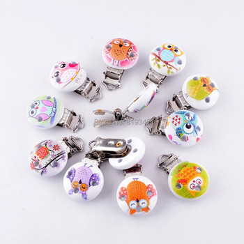 10 Baby Pacifier Clips Mixed Animal Owl Pattern White Wood Metal Holders Cute Infant Soother Clasps Accessories 4.4x2.9cm